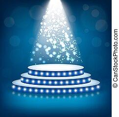 palcoscenico, blu, illuminato, festivo, lampade, podio