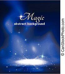 palcoscenico, fondo, stars., fumo, magia