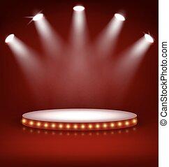 palcoscenico, illuminato, festivo, lampade, podio, rosso