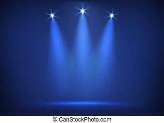 palcoscenico, illuminato, luci, luminoso