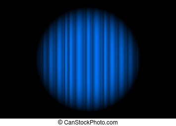 palcoscenico, macchia, grande, tenda, luce blu