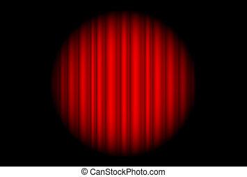 palcoscenico, macchia, grande, tenda, luce rossa