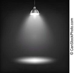 palcoscenico, sagoma, lampada, nero, macchia, illuminato, luce