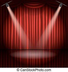 palcoscenico, vettore, macchia, illustrazione, tenda, luce