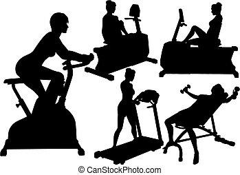 palestra, donne, allenamenti, esercizio, idoneità