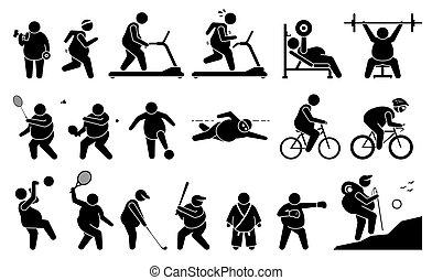 palestra, idoneità, attivo, lifestyle., grasso, gioco, uomo, esercizio, sport, perdita peso