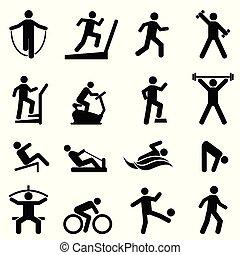 palestra, set, idoneità, esercizio, icona