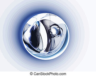 palla blu, arte, astratto