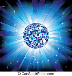 palla blu, scoppio, luce, sfavillante, discoteca, stelle, brillare