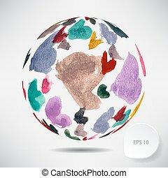 palla, colorato, astratto, acquarello, fondo, cuori