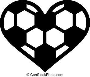 palla, cuore, calcio