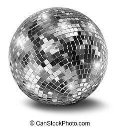 palla discoteca, argento, specchio