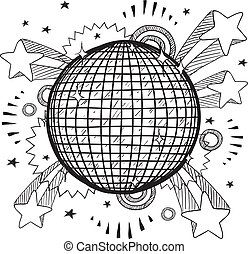 palla discoteca, vettore, pop