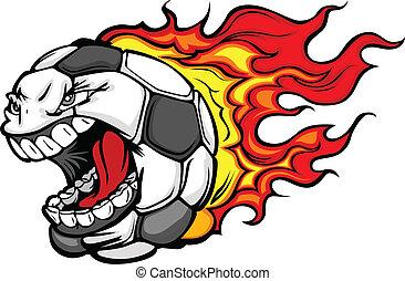 palla, fiammeggiante, faccia, vettore, calcio, grida, cartone animato