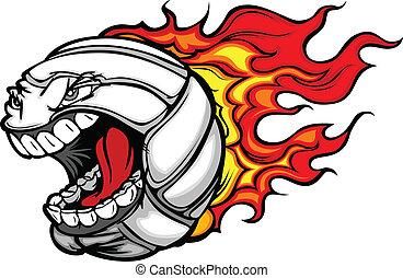 palla, fiammeggiante, pallavolo, faccia, vettore, grida, cartone animato