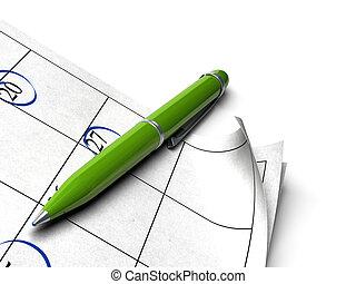 palla, fondo, punto, sopra, pagina, penna, verde, ordine del giorno, bianco, immagine, agnle