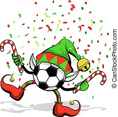 palla, football, elfo, o, calcio, natale