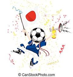 palla, giappone, ventilatore, head., calcio