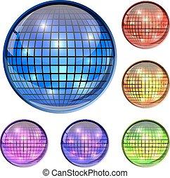 palla, icone, colorare, isolato, discoteca, vetro, vettore, fondo., bianco, 3d