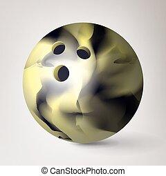 palla, illustration., realistico, lucido, vector., bowling, pulito, baluginante, 3d
