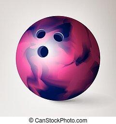 palla, illustration., realistico, pulito, bowling, 3d, baluginante, vector.