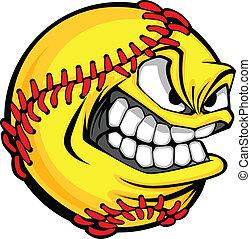 palla, immagine, softball, digiuno, faccia, vettore, pece, cartone animato