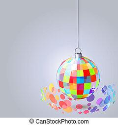 palla, luce, appendere, grigio, fondo, specchio, scintille