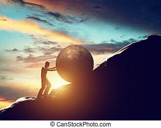 palla, metaphor., su, sisyphus, rimbombante, concreto, uomo, enorme, hill.
