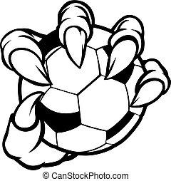 palla, mostro, animale, football, presa a terra, artiglio, calcio