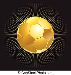 palla, nero, oro, fondo