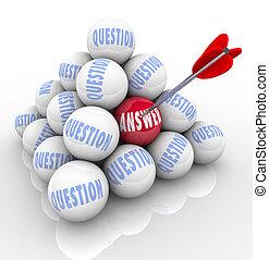 palla, parola, domande, piramide, freccia, risposta, bersaglio