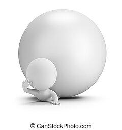 palla, persone, -, appuntato, piccolo, 3d