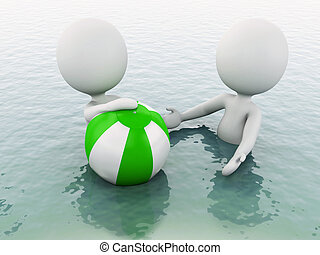 palla, persone, water., spiaggia bianca, 3d
