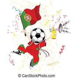 palla, portogallo, ventilatore, head., calcio