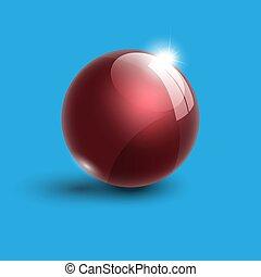 palla, realistico, illustrazione, vetro, luminoso, vettore, rosso, 3d