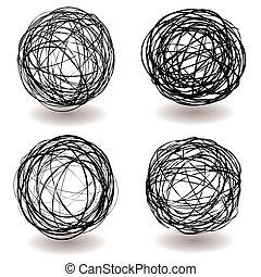 palla, scarabocchio, icona