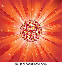 palla, scoppio, luce, sfavillante, discoteca, stelle, arancia, brillare