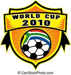 palla, scudo, tazza, dentro, africa, bandiera, repubblica, mondo, calcio, 2010, sud, icona