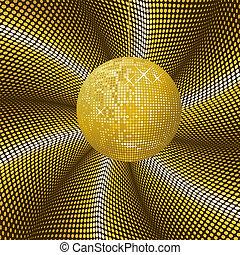 palla, sfavillante, oro, discoteca