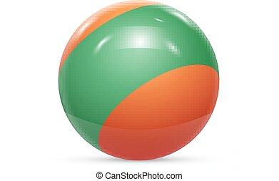 palla, sfera, isolato, texture., fondo., vettore, bianco, strisce, ball., 3d