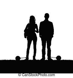 palla, silhouette, natura, coppia, prision, illustrazione