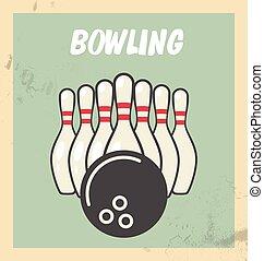 palla, skittles, aviatore, retro, bowling, festa