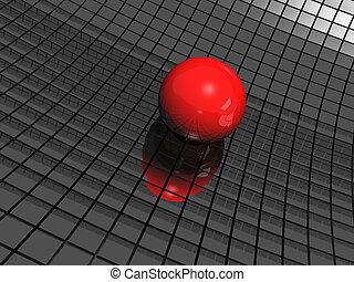 palla, specchi, sfondo nero, rosso, 3d