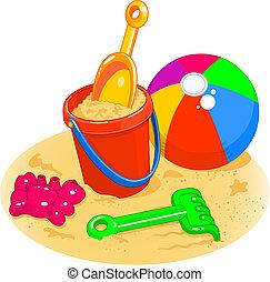 palla spiaggia, secchio, giocattoli, -, pala