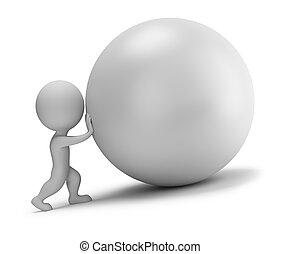 palla, spinte, persone, -, piccolo, 3d