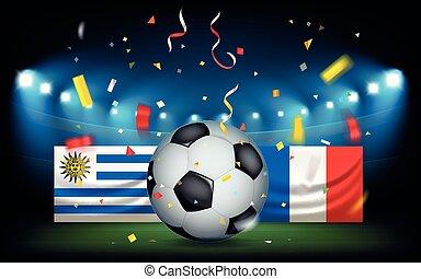 palla, uruguay, football, francia, vs, stadio, flags.