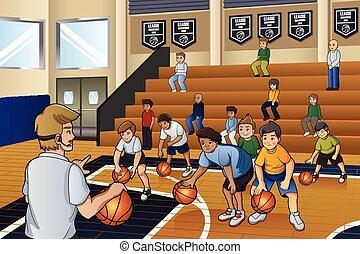 pallacanestro, attivo, bambini