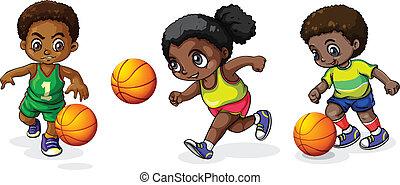 pallacanestro, bambini, gioco