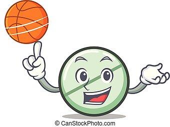 pallacanestro, carattere, pillola droga, cartone animato