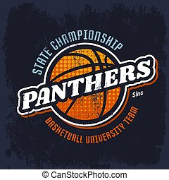 pallacanestro, emblema, squadra, pantere, sport